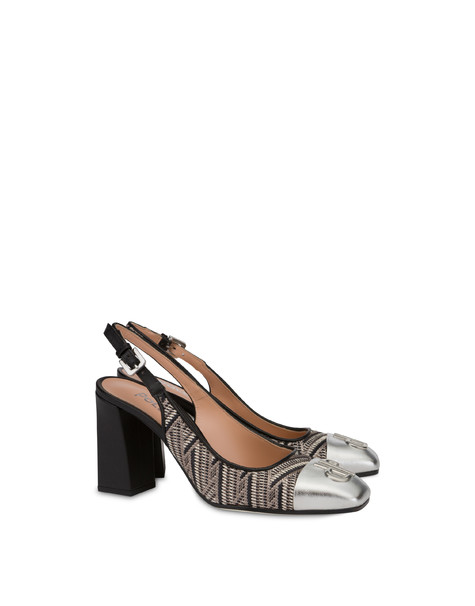 Twin P raffia and laminated nappa slingbacks BLACK/SILVER/BLACK