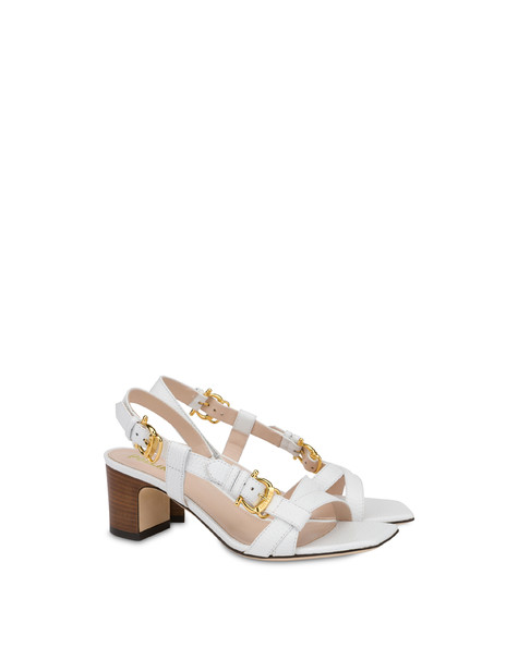 Buckle Notes calfskin sandals WHITE