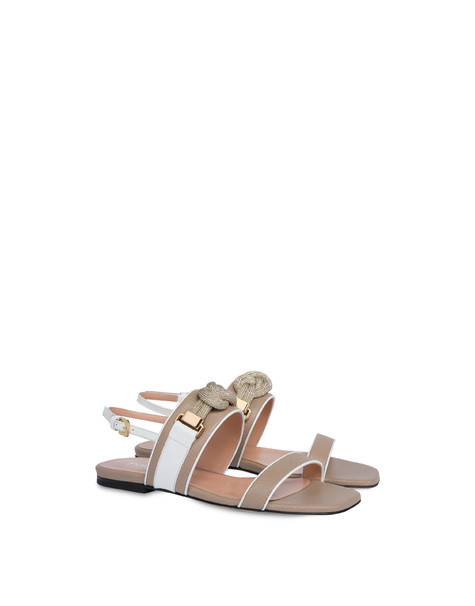 Marina flat sandals in calfskin SAND/WHITE