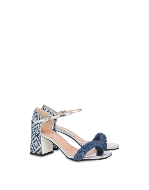 Greek Islands denim and laminate sandals MEDITERRANEAN/SILVER/SILVER