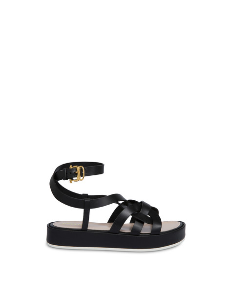 Greek Arco Wave cowhide flatform sandals BLACK