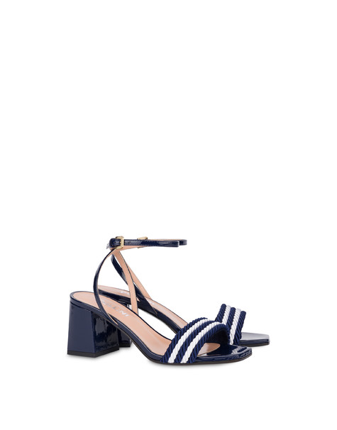 Rope On Rope sandals in patent leather and rope MEDITERRANEAN-WHITE