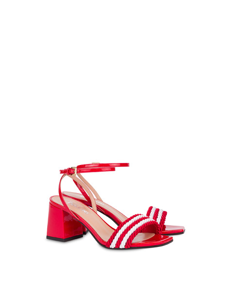 Rope On Rope sandals in patent leather and rope LAKY RED-WHITE
