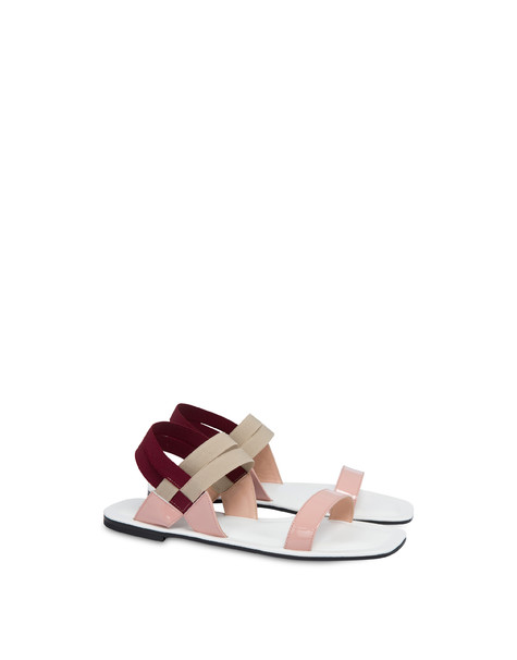 Greek Cross patent leather flat sandals QUARTZ