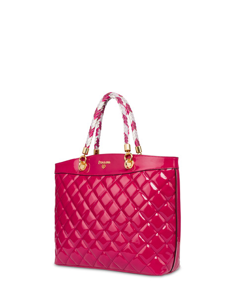 Clio quilted shopping bag with double handle FUCHSIA