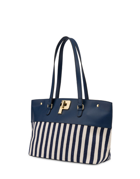 Capitol Peak striped shopping bag BLUE/ECRU/BLUE