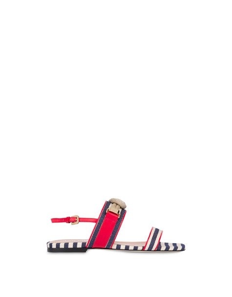 Marina striped flat sandals MEDITERRANEAN-WHITE/LAKY RED