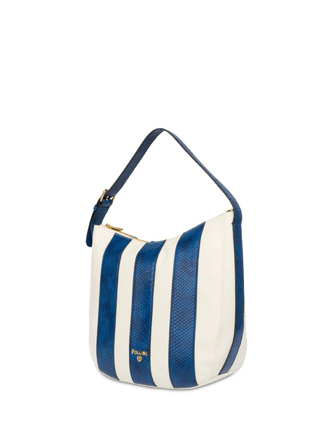 Stripe On Me hobo shoulder bag ECRU/BLUE