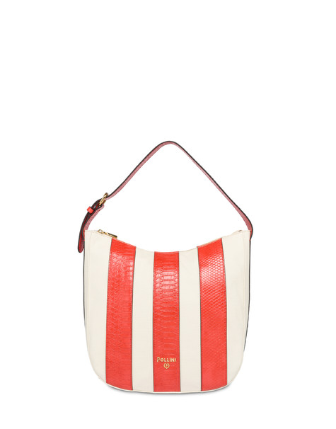 Stripe On Me hobo shoulder bag ECRU/CORAL