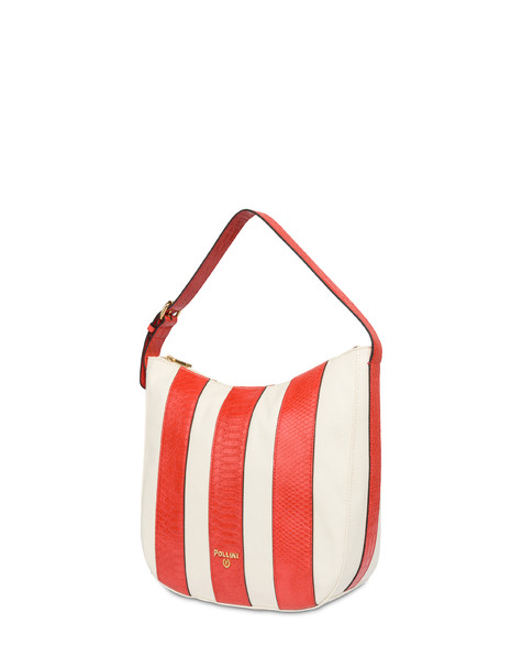 Hobo-Schultertasche Stripe On Me Ecru/Koralle