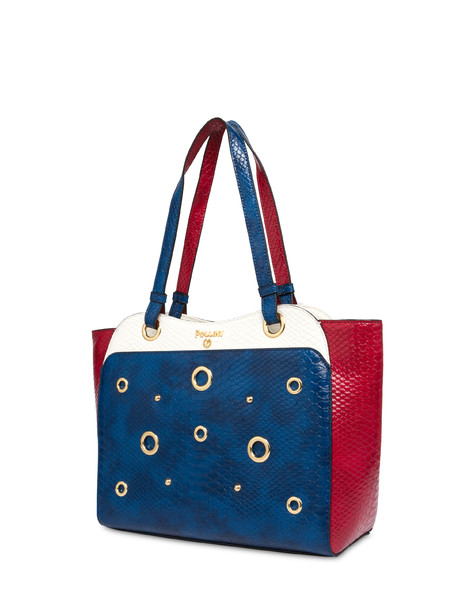 Marina Tote bag with python print BLUE/RED/WHITE