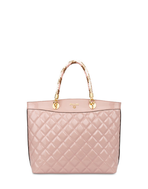 Clio quilted shopping bag with double handle NUDE