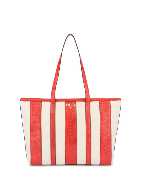 Stripe On Me canvas shopping bag ECRU/CORAL
