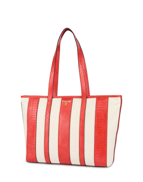 Canvas-Shopping bag Stripe On Me Ecru/Koralle
