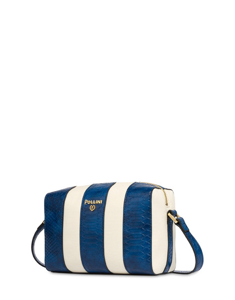 Stripe On Me canvas shoulder bag ECRU/BLUE