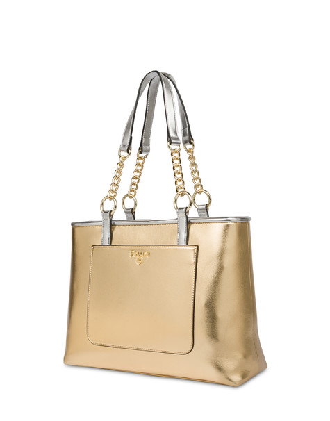 Naxos laminated tote bag GOLD/SILVER