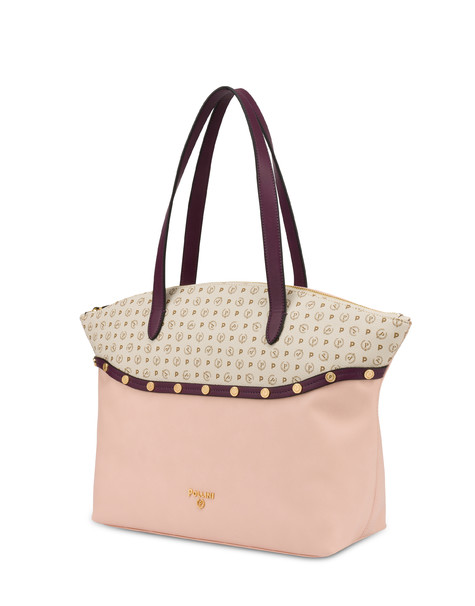 Margarita shopping bag with studs NUDE/BORDEAUX/IVORY