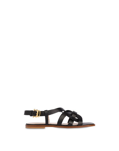 Greek Arco Wave flat cowhide sandals BLACK