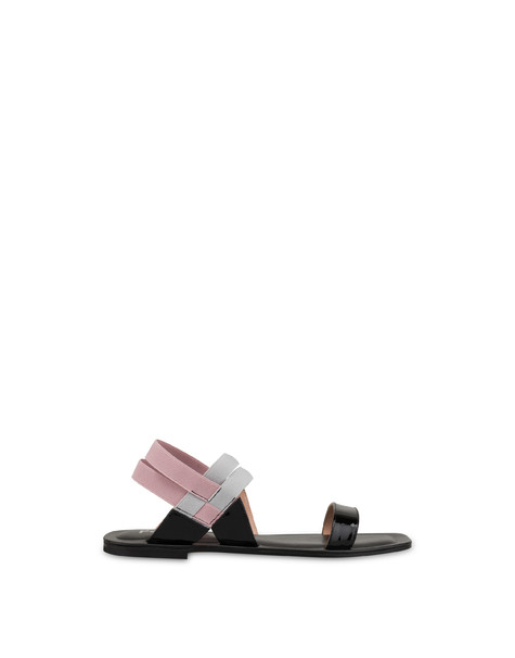 Greek Cross patent leather flat sandals BLACK