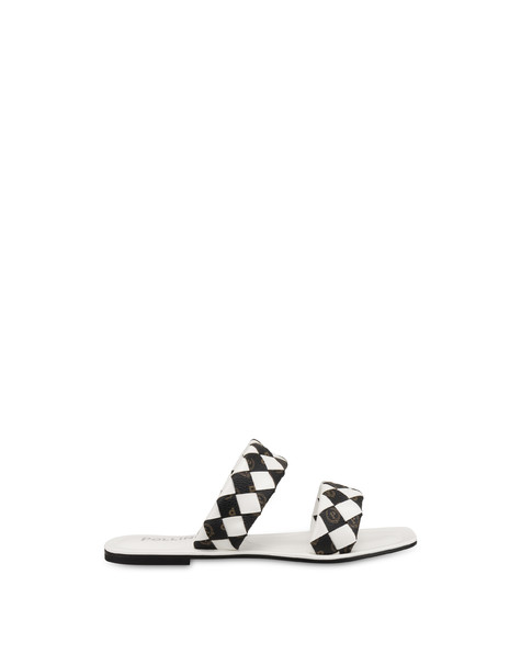 The Queen Of Chess flat sandals with Heritage inserts WHITE/BLACK