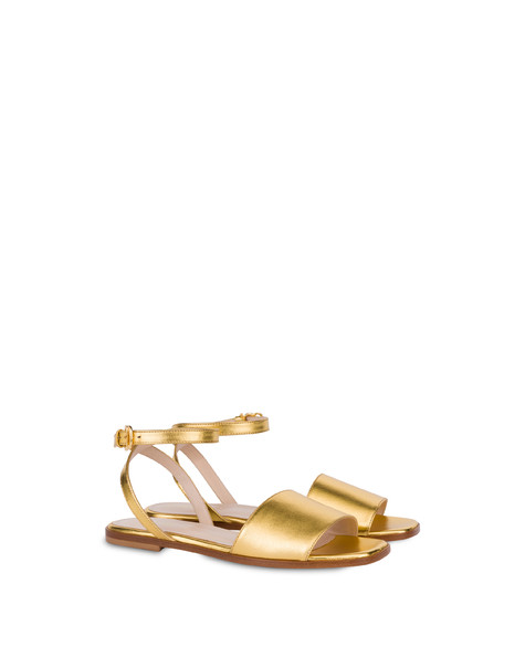 Flat sandals in laminated nappa GOLD