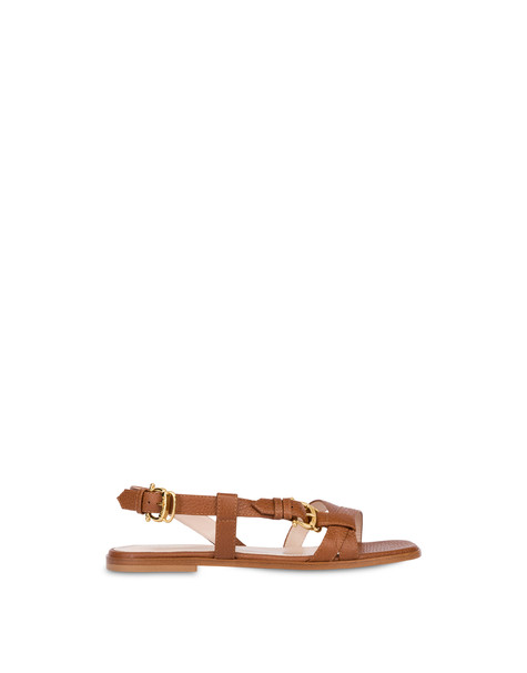 Flache Sandalen aus Lackleder Buckle Notes Leder