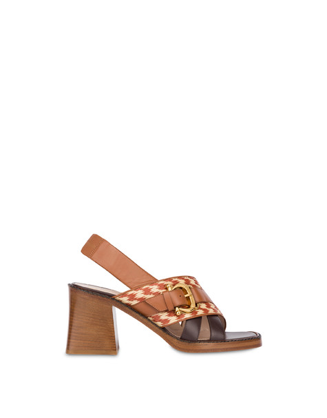 Buckle Notes calfskin sandals HIDE-BEIGE/HIDE/DARK BROWN