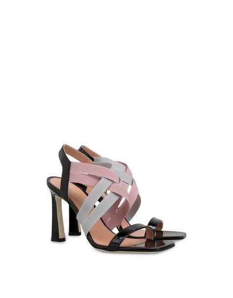 Greek Cross patent leather high sandals BLACK