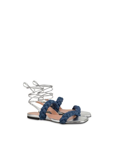 Greek Islands denim and laminate flat sandals MEDITERRANEAN/SILVER