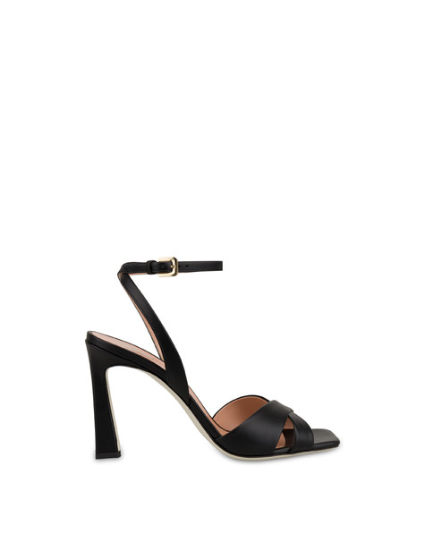 Cote D'Azur high sandals in calfskin BLACK