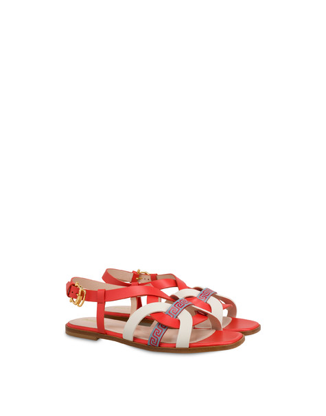 Greek Arco Wave calfskin flat sandals GERBERA/MILK/SKY