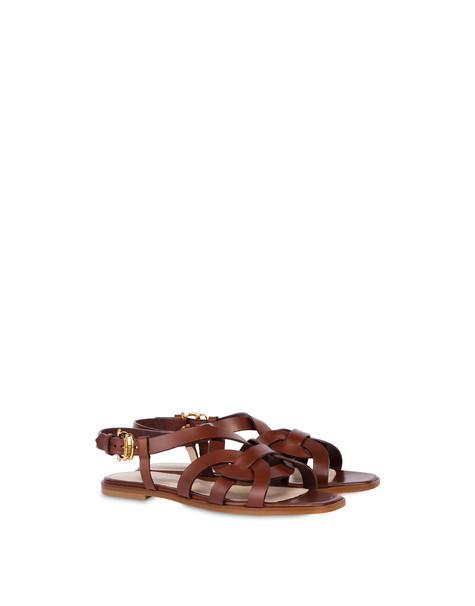 Greek Arco Wave flat cowhide sandals HIDE