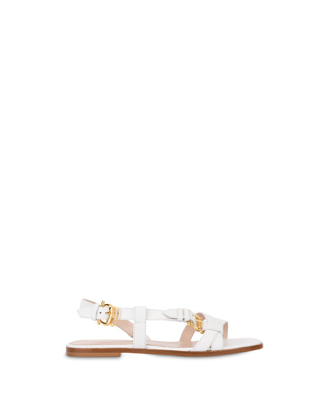 Buckle Notes flat sandals in patent leather WHITE