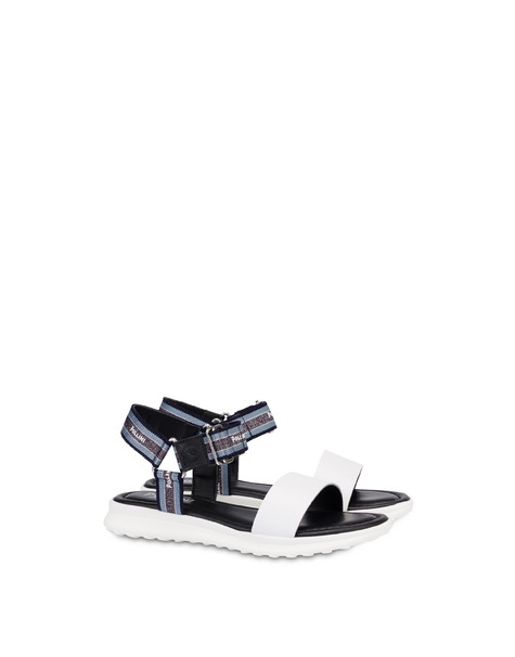 Trek By The Sea calfskin flat sandals WHITE