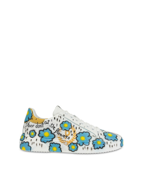 'Please don't eat the flowers' leather sneakers with floral print