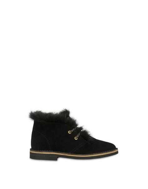 Desert boots in split-grain leather BLACK/BLACK