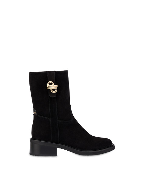 Twin P split-leather ankle boots BLACK