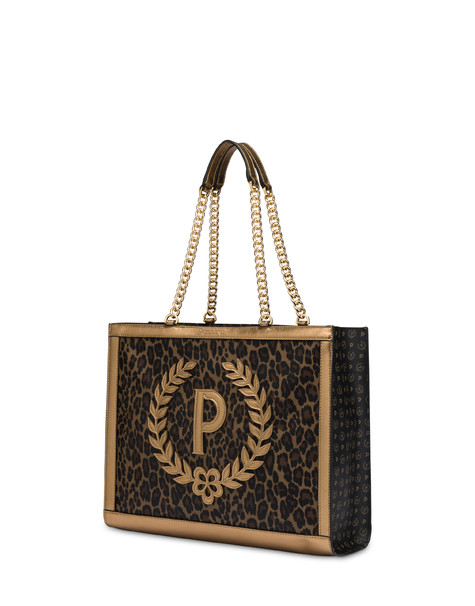 Follow The Sun leopard print shopping bag LEOPARD/BLACK/BRONZE