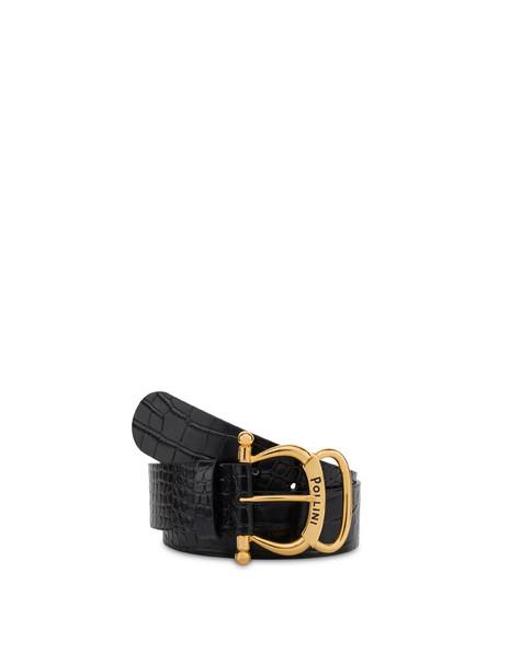 Cintura in vitello stampa cocco NERO