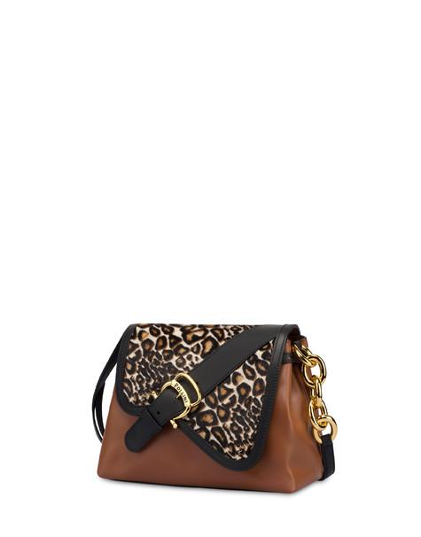 Cabiria Buckle calf leather and pony skin shoulder bag GIRAFFE/HIDE/BLACK