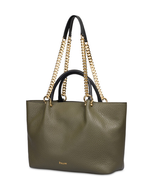 Shopping bag in Marlene calf leather MILITARY GREEN/BLACK