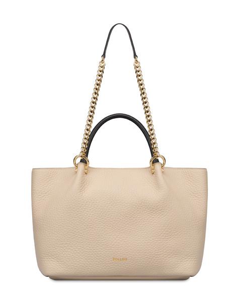 Shopping bag in Marlene calf leather SAND/BLACK