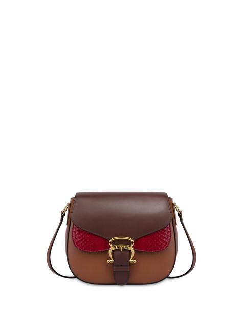 Petal bag in calf leather and elaphe DARK BROWN/HIDE/RUBY