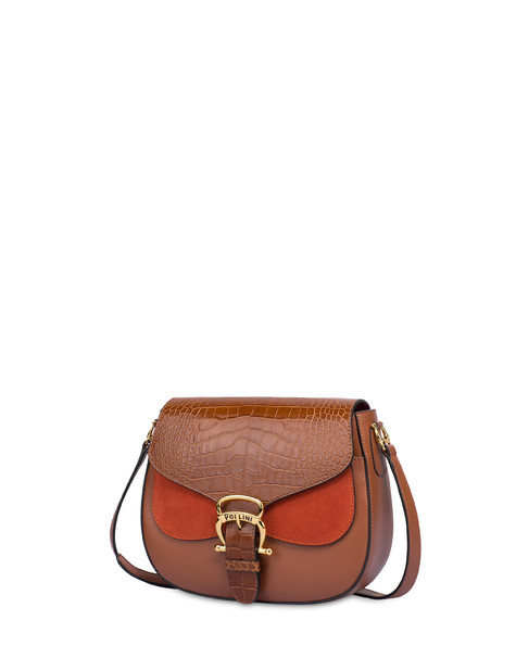 Petal bag in calf leather and leather HIDE/HIDE/RUST