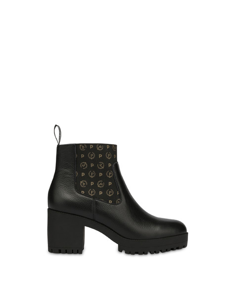Logo Heritage calf leather ankle boots BLACK/BLACK
