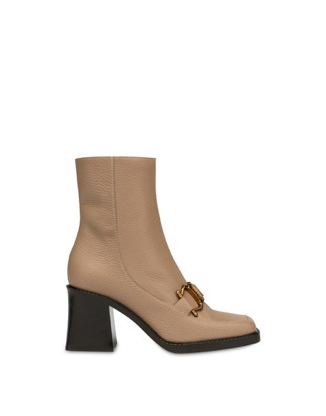 Natalia moose print calf leather ankle boots PORCELAIN