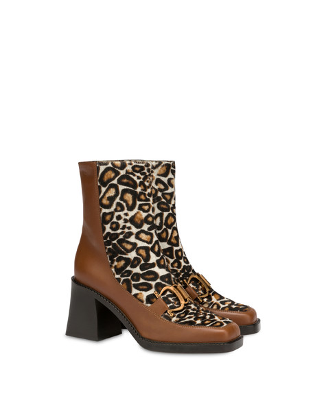 Natalia ankle boots in calf leather and spotted pony skin WAFER/WAFER