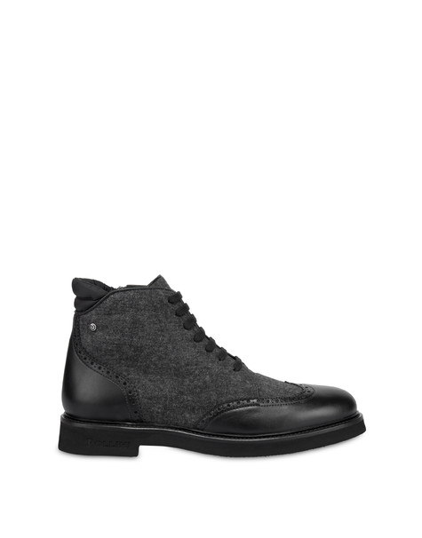 Lace-up ankle boots in wool and Wien calf leather BLACK/LONDON SMOKE