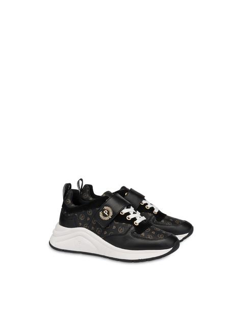 Sneakers in vitello e PVC Logo Heritage NERO/NERO