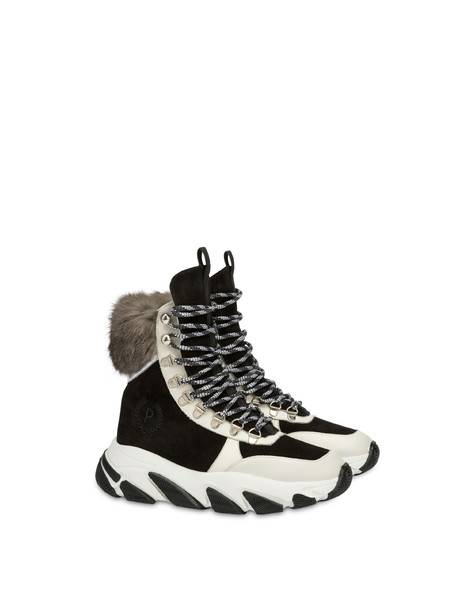 High sneakers with chunky hiking sole BLACK/PORCELAIN/SILVER/PORCELAIN/STONE